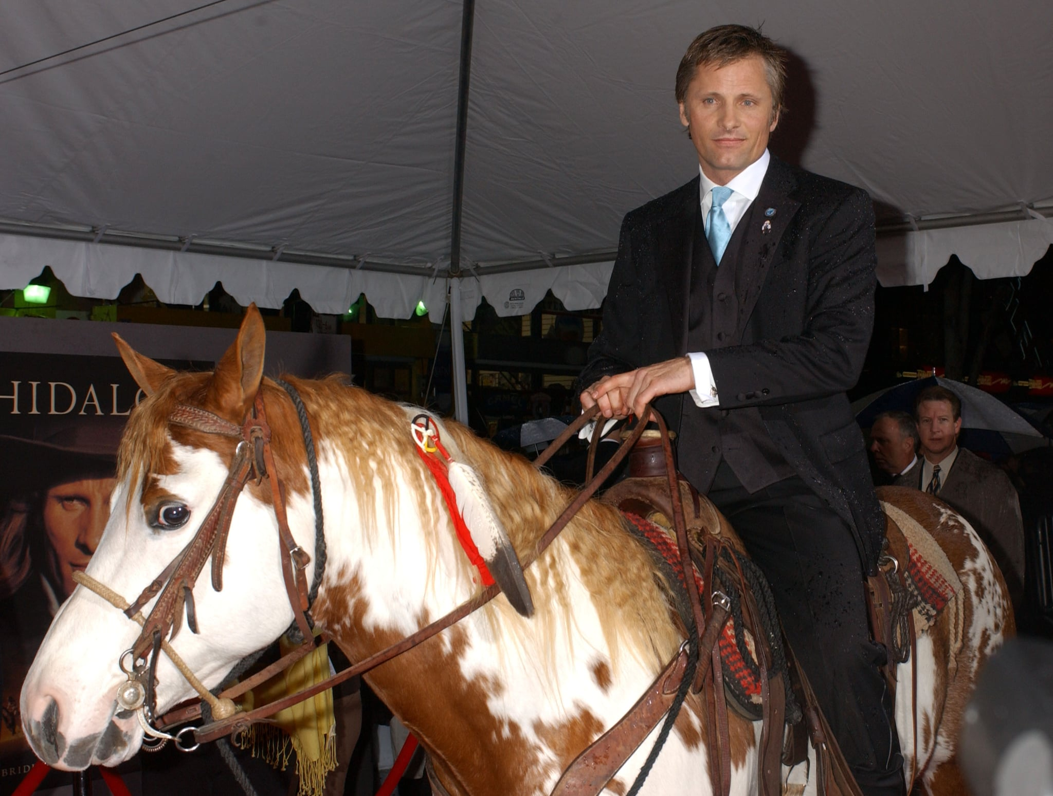 Viggo Mortensen cuts a dashing figure on his painted mount at the Hidalgo premiere in 2004.