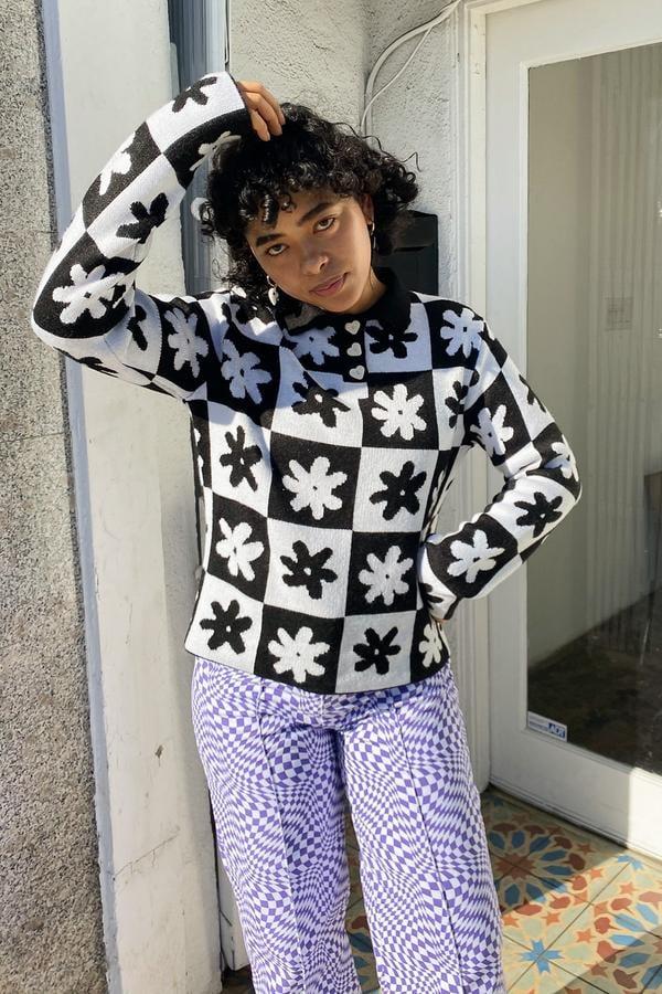 Lisa Says Gah! x KJP Paisley Polo Long Sleeve - Black Daisy Check