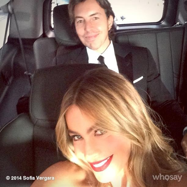 """Almost there!! #Emmys,"" Sofia Vergara captioned her pic from the car."