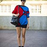 This showgoer's knit supplied a quirky contrast to heavy-soled, buckled boots. Source: Le 21ème | Adam Katz Sinding