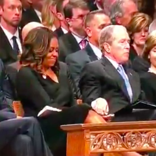 George W. Bush Gives Michelle Obama Candy During Funeral