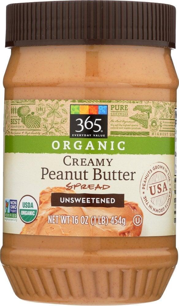 Organic Creamy Peanut Butter Spread Unsweetened
