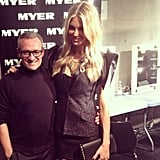 Jennifer Hawkins congratulated Jayson Brunsdon after his show. Source: Instagram user myer_mystore