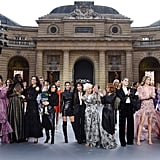 "Camila posing at the end of the ""Le Defile L'Oreal Paris"" fashion show beside (from right to left) Aishwarya Rai, Andie MacDowell, Eva Longoria and her son Santiago, Helen Mirren, Amber Heard, Doutzen Kroes, Liya Kebede and several models."