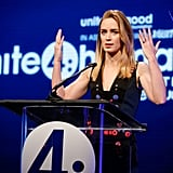 Emily Blunt spoke with passion at unite4:humanity's event at the Beverly Hilton hotel.