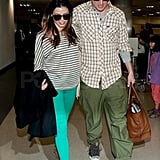 Channing and Jenna dressed down for their flight.