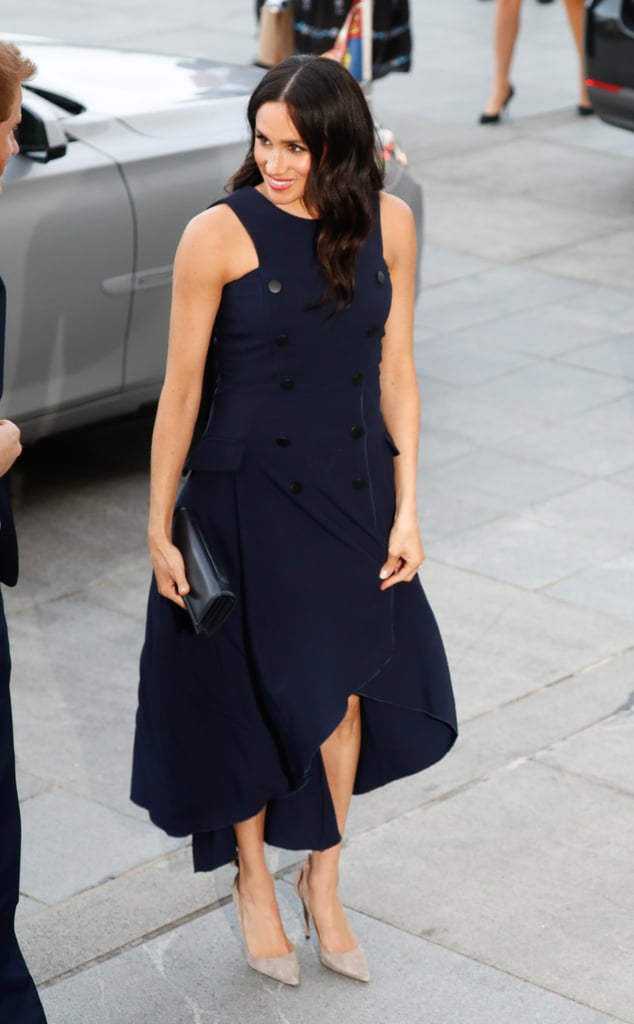 Meghan in a Navy Ruffle Dress