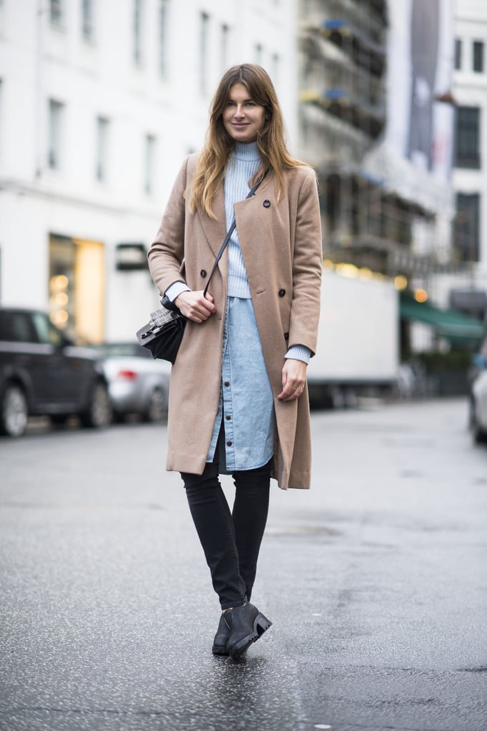 Let your layers be an opportunity to reinvent your look — she did with a denim dress, sweater, and camel coat. Source: Le 21ème | Adam Katz Sinding