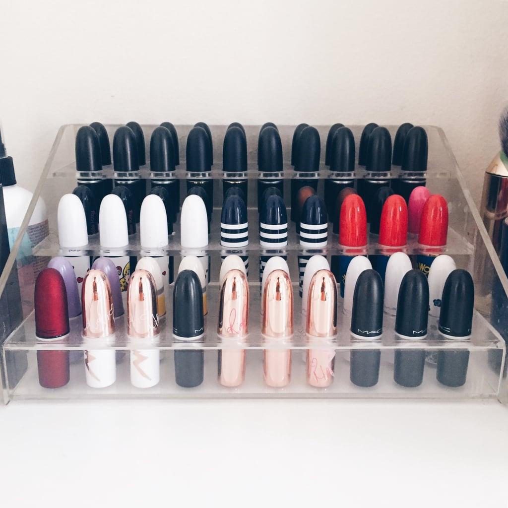 """Best beauty organization tips:  """"It can get expensive buying supplies to organize your vanity. Instead, repurpose old candle jars to store items like lip glosses and makeup brushes."""" """"Purge, purge, purge. Regularly get rid of old, expired products and clear up space for new makeup.""""  """"If you need inspiration, search 'makeup collection storage' on YouTube. Your mind will be blown!"""""""