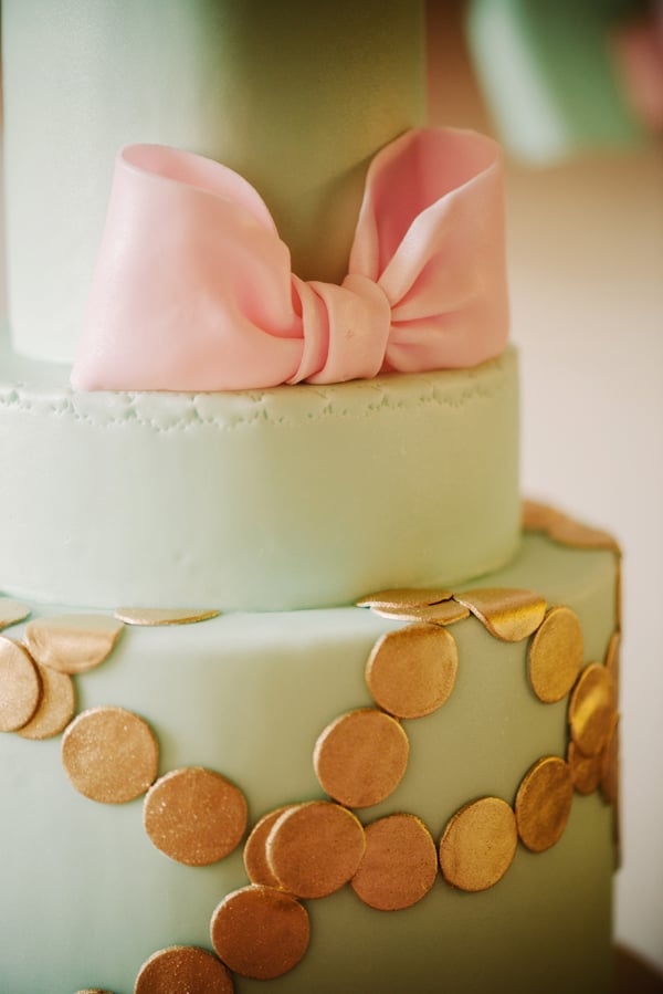 Bow Details Pink And Gold Bow First Birthday Party Popsugar Moms