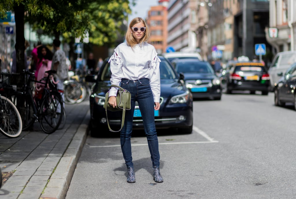 In slim cut to streamline a billowy blouse