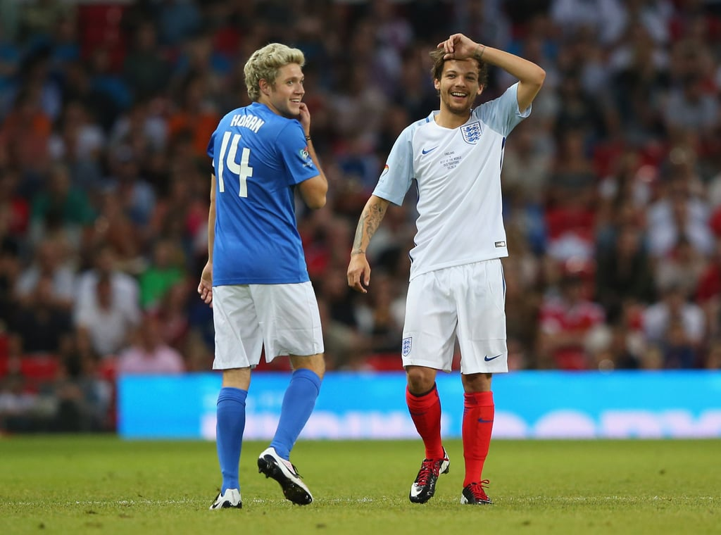 Niall Horan and Louis Tomlinson at Soccer Aid Game June 2016