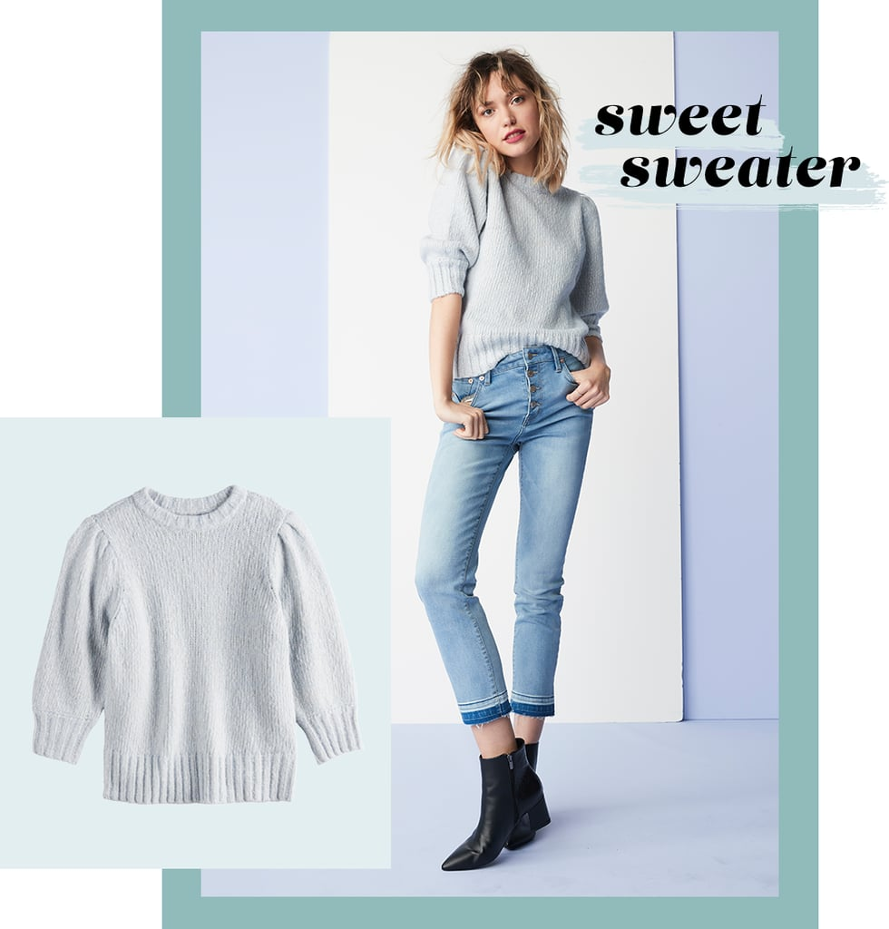 Simple but certainly not basic, this pastel sweater is the definition of understated-chic. Three-quarter sleeves, puff shoulders, and ribbed detailing ensure it stands out from your other sweaters, and its light hue only makes it that much more elevated. Pair this piece with jeans for an off-duty look and wide-leg trousers or a pencil skirt for the office.