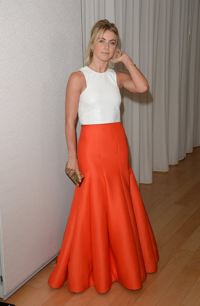 Julianne Hough wore a bright orange skirt to InStyle's Summer party.