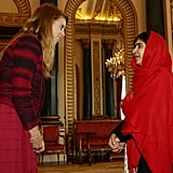 Meeting Malala Yousafzai at Buckingham Palace in 2013.