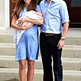 In July 2013, Kate and William posed for a photo op with newborn Prince George while leaving St. Mary's Hospital.