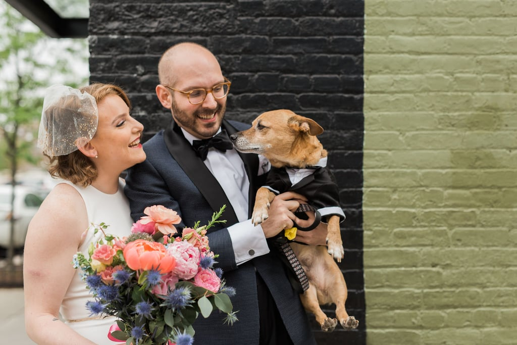Rebecca and Ryan's Brooklyn, NY, wedding had a dog in a tux, doughnuts, and a hanging floral chuppah. See the wedding here!
