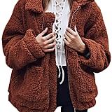 Prettygarden Faux Shearling Oversized Coat