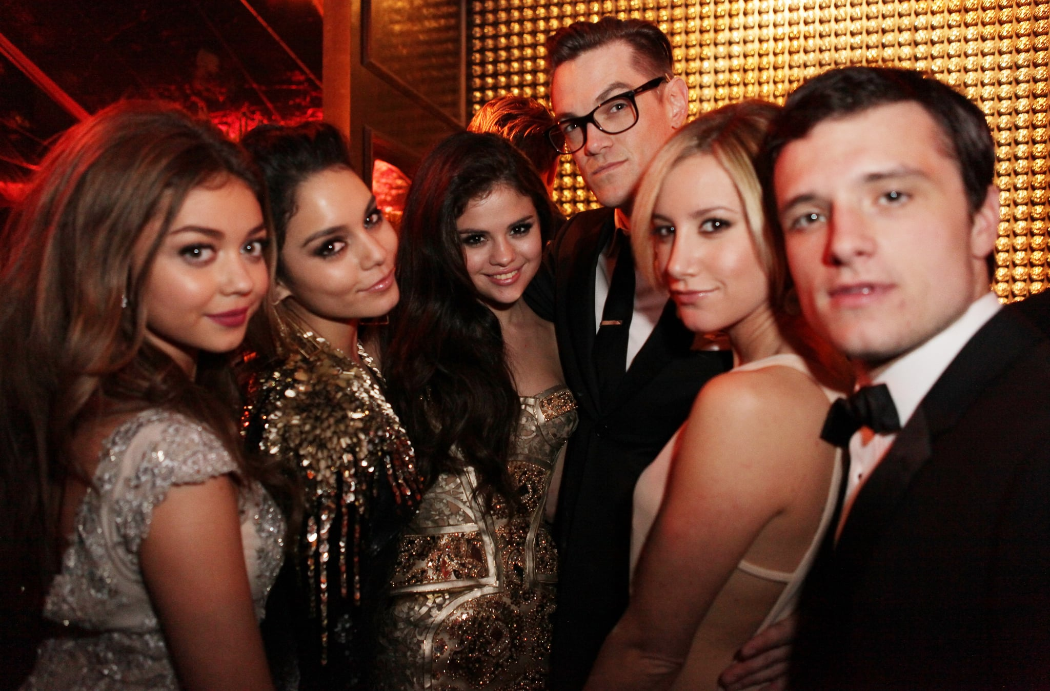 Selena Gomez poses with a group of young Hollywood stars at a Golden Globes afterparty, including Josh Hutcherson, Ashley Tisdale, and Selena's Spring Breakers costar Vanessa Hudgens.