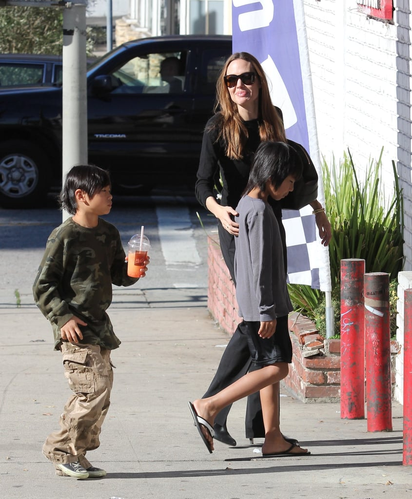 Angelina Jolie brought her boys Pax and Maddox along yesterday for an afternoon of shopping in LA. The gang picked up bags full of party supplies, likely for Pax and Maddox's sister Zahara's birthday. Pax played with a toy rifle his mom bought inside the shop as well. Zahara Jolie-Pitt turns 7 on Sunday, and we're celebrating by looking back at 25 of her most adorable photos! Angelina, Pax, and Maddox wrapped up their outing with a stop at McDonald's. The whole Jolie-Pitt clan will mark Z's big day in California. Brad will be part of the fun, despite his dealing with a recent leg injury that requires the use of a cane.  X17 Online
