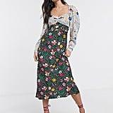 ASOS Design Satin Sweetheart Mixed Floral Dress