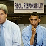 Speaking at a job training center with John Kerry during his Senate campaign in 2004
