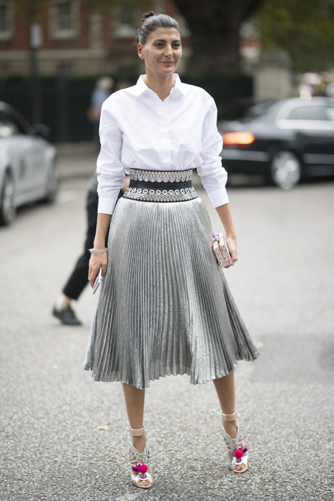 Tucked Tight Into High Waisted Pleated Midi Skirt