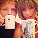 Taylor Swift spent a little time with Ed Sheeran and a couple of mugs. Source: Instagram user taylorswift