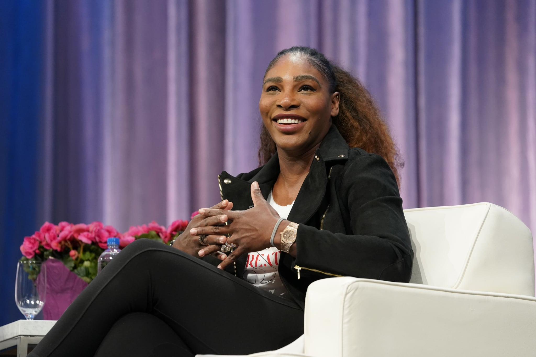 SAN JOSE, CALIFORNIA - FEBRUARY 22: Serena Williamsspeaks on stage during keynote conversation at 2019 Watermark Conference for Women Silicon Valley at San Jose McEnery Convention Center on February 22, 2019 in San Jose, California. (Photo by Marla Aufmuth/WireImage)