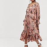Lovedrobe button front midaxi dress with blouson sleeve and ruffle skirt in pink floral