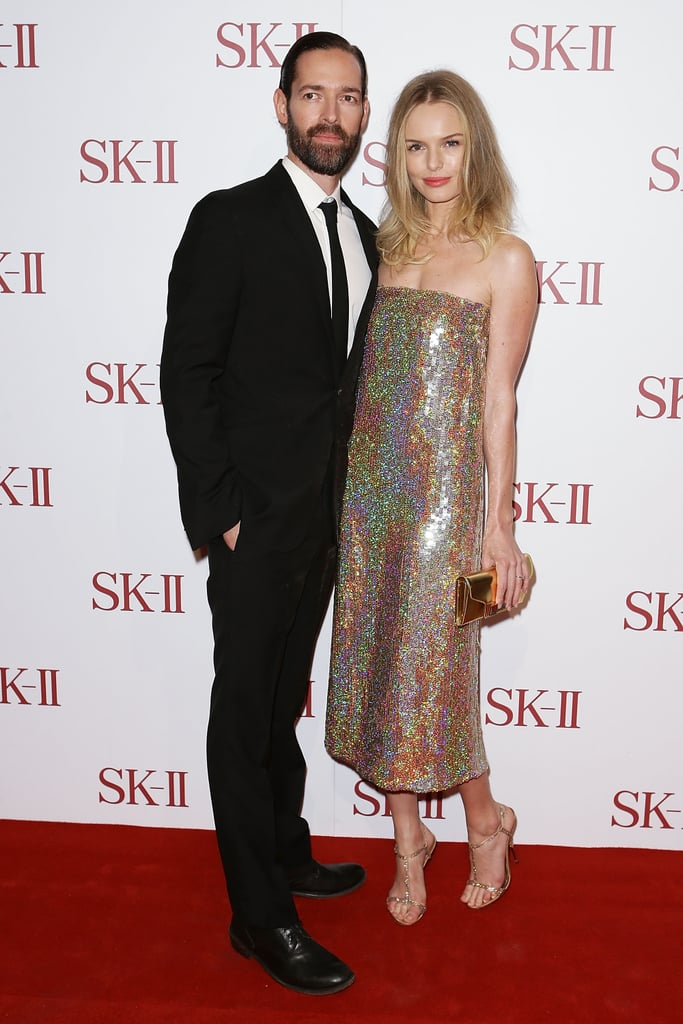 Kate Bosworth posed alongside fiancé Michael Polish in Sydney last night. She wore a sequined Stella McCartney dress for the occasion, which celebrated the launch of the SK-II skin care line at retailer David Jones. Kate was named a new face of the luxury company last month, joining longtime ambassador Cate Blanchett, and has since participated in three photo shoots for the brand. Kate and Michael arrived in Australia earlier this week and have been exploring Down Under. They were arm in arm for a sunny stroll on Tuesday and checked out Bondi Beach yesterday.