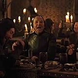 Guests pounding on the table to get everyone's attention at the Red Wedding Revenge