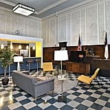 The judge's bench was saved to pay homage to its historic roots, but the main courtroom now serves as an eclectic resident lounge.