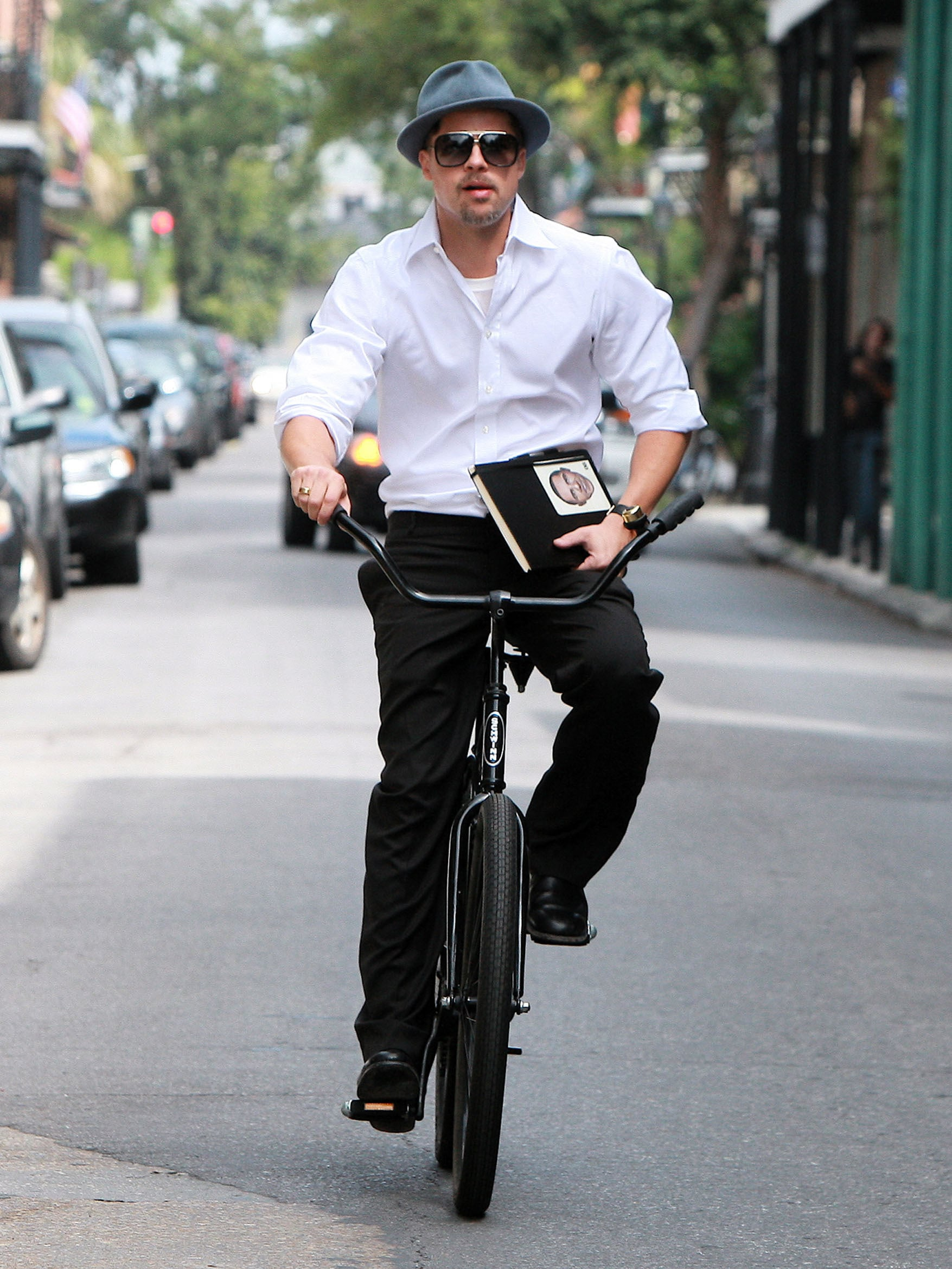 Photos Of Brad Pitt Riding His Bike In New Orleans