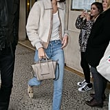Kendall Jenner Wearing Shearling Jacket
