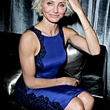 Cameron Diaz wore a blue dress to the Weinstein Company's Golden Globes after party.