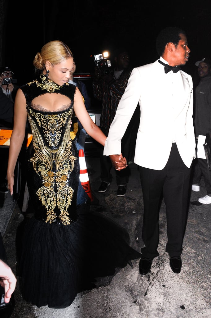 Beyoncé and Jay Z held hands while arriving at the Met Gala afterparty in May 2011.