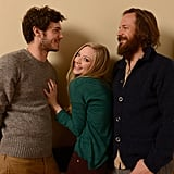 Lovelace costars Adam Brody, Amanda Seyfried, and Peter Sarsgaard played around during their portrait photo shoot at Sundance.