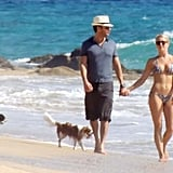 Julianne Hough wore a bikini to walk on the beach with her boyfriend and dogs.