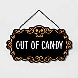 Welcome/Out Of Candy Halloween Hanging Wood Sign