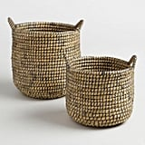 Espresso and Natural Seagrass Paige Tote Baskets