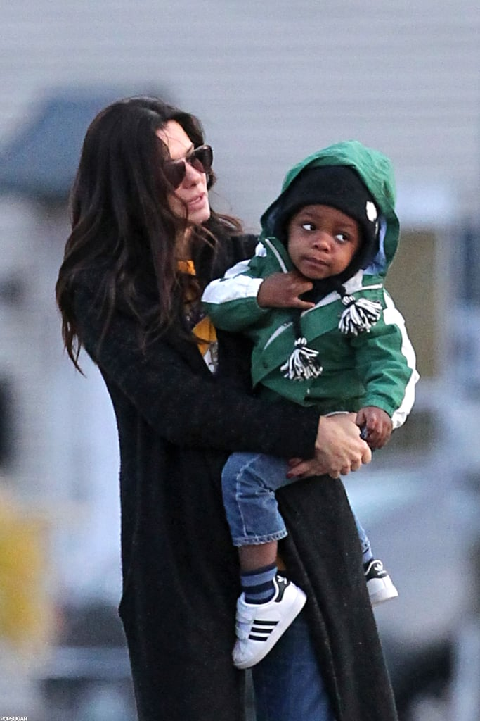 Sandra Bullock held son Louis Bullock in New Orleans.