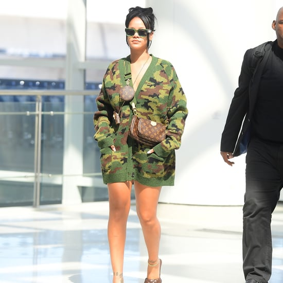 Rihanna Pulls Off an Oversize Camo Cardigan as a Dress
