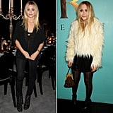 Twinning combo: The twins doubled down on texture and embellishments during a launch dinner for The Row in 2007.   Ashley went edgy in a fringed blazer and studded leather boots.  Mary-Kate played nicely with a furry white jacket, black mini, and printed tights.