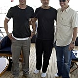 In May 2004, Brad Pitt, George Clooney, and Matt Damon hung out on the Jaguar racing yacht to promote Ocean's 12 in Monte Carlo.