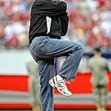 He rocks them dad jeans.