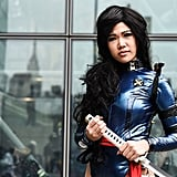 This woman made her Psylocke cosplay look even more edgy with the addition of green contact lenses.