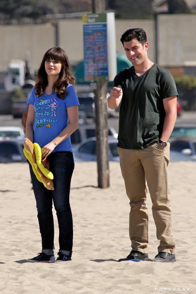 Max Greenfield and Zooey Deschanel filmed New Girl in LA.