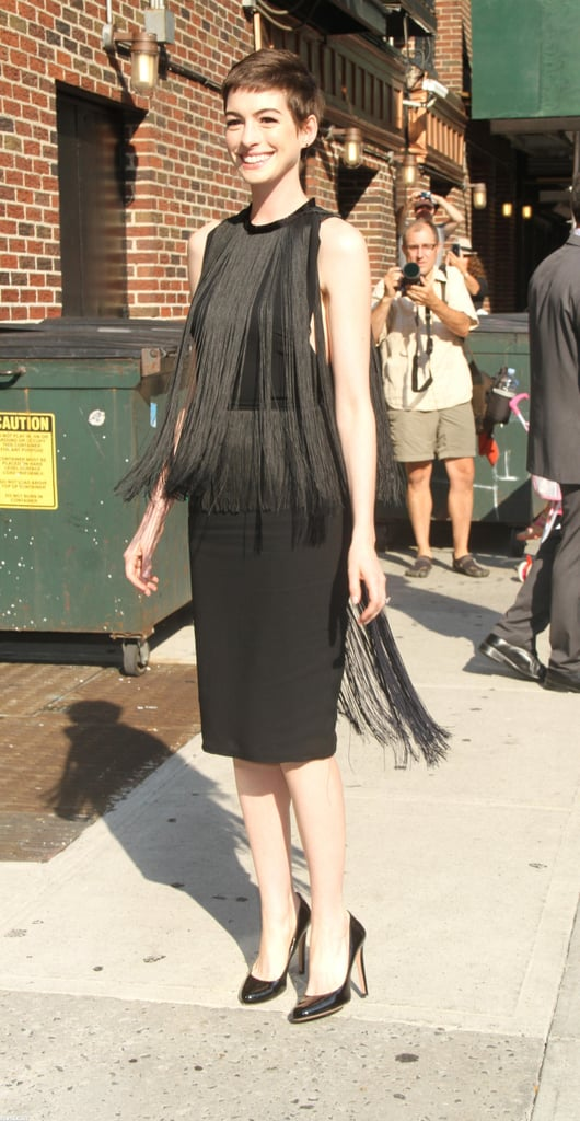 Anne Hathaway showed off her fringed look.