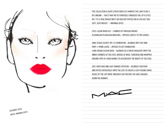M.A.C. Face Charts From The Fall 2009 Shows: London Edition